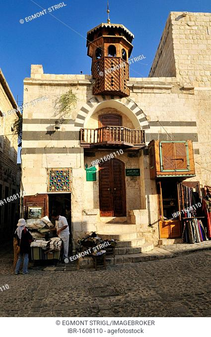 Small mosque and souvenir shop in the historic town of Hama, Syria, Middle East, West Asia