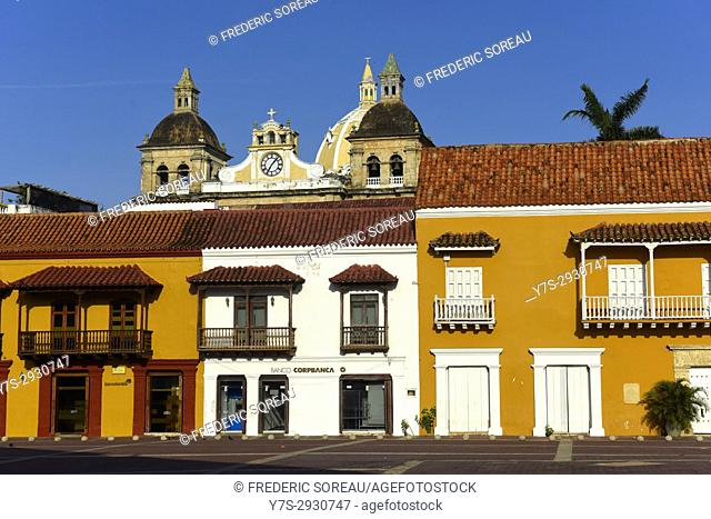 Beautiful architecture in the historic colonial city center of Cartagena, Colombia, South America