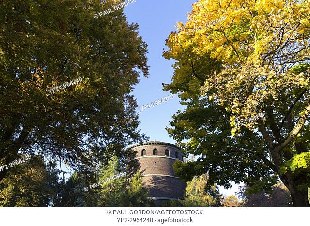 Seattle, Washington: Volunteer Park water tower with fall foliage