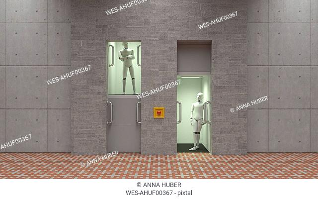 Robot standing in elevator, watching each other