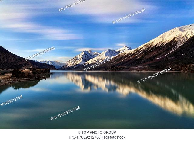 Mirror reflection of Lake ranwu and the mountain ;Basu;Tibet;China