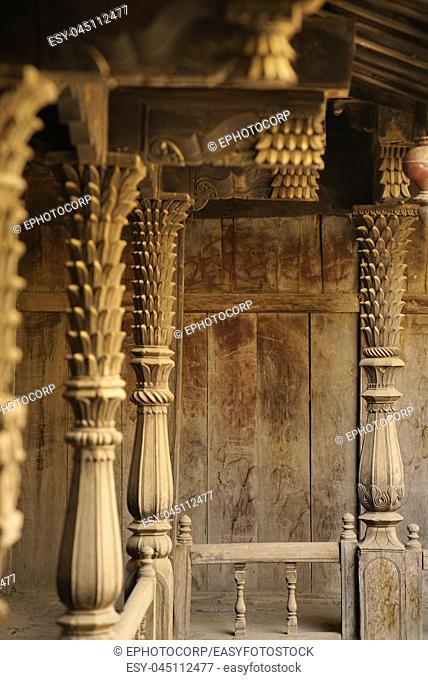 Structural wood work and heavily carved wooden members Palashikar wada, Palashi, Ahmednagar