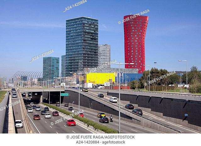 Spain, Catalonia, Barcelona, Gran Via Avenue, Plaza Europa. Buildings by Toro Ito