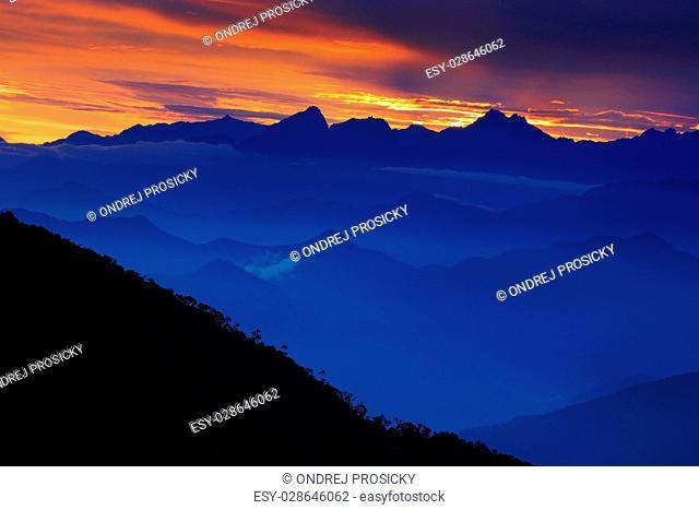 Looking down on Sierra Nevada de Santa Marta, high Andes mountains