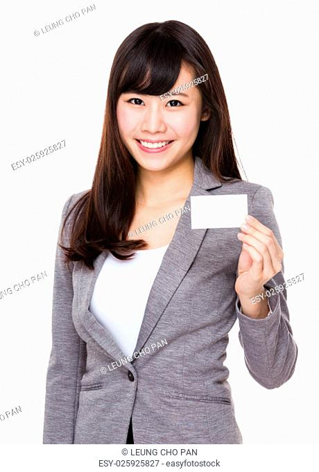Young businesswoman showing with the name card