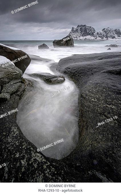 Water patterns on Uttakleiv beach in the Lofoten Islands, Norway, Europe