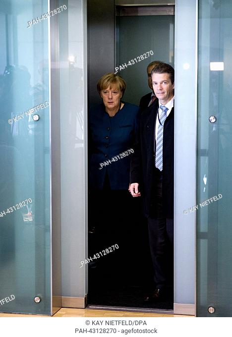 German Chancellor Angela Merkel arrives to the preliminary talks at Jakob-Kaiser-Haus in Berlin, Germany, 04 October 2013