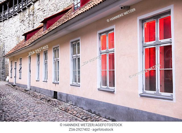 House with red light in Tallinn, Estonia, Europe