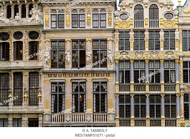 Belgium, Brussels, Grote Markt, part of facades
