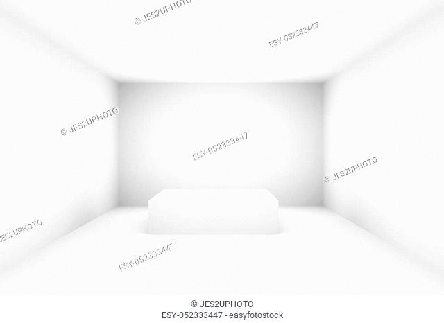 Empty white stage stand for exhibit in room with lighting effect, 3D render