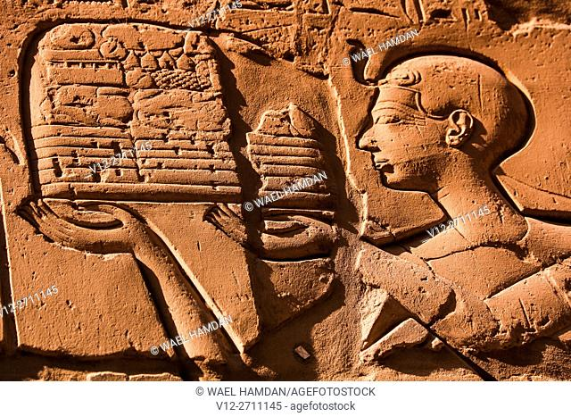 Relief at complex of temples at Karnak, Luxor, Upper Egypt