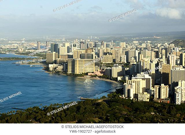 Honolulu viewed from Diamond Head Crater at dawn, Oahu, Hawaii, USA