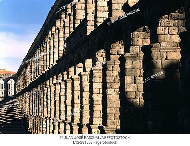 Roman aqueduct after restoration. Segovia. Spain