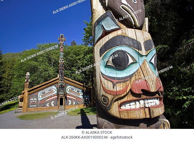 Clan House w/Totem pole @ Totem Bight State Historical Park near Ketchikan AK Southeast
