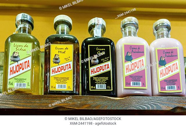 traditional alcoholic beverages in a shop. Luarca village. Asturias, Spain, Europe