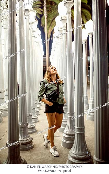 USA, California, Los Angeles, woman visiting Los Angeles County Museum of Art