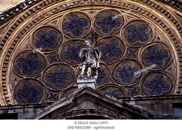 Rosette above the Door of the Clock of the Primate Cathedral of St Mary, Toledo, Castile-La Mancha. Detail. Spain