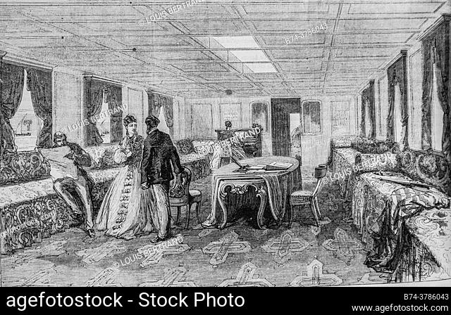 living room of the pleasure boat of the viceroy of egypt, the illustrious universe, editor michele levy 1869