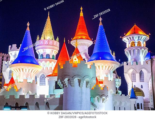 LAS VEGAS - APR 28 : The Excalibur Hotel and Casino in Las Vegas on April 28 2015 , The Hotel was named after King Arthur's sword and opened in 1990