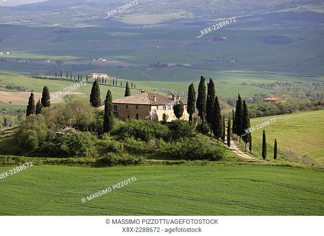 The Belvedere farmhouse in Val d'Orcia, San Quirico d'Orcia, Tuscany, Italy