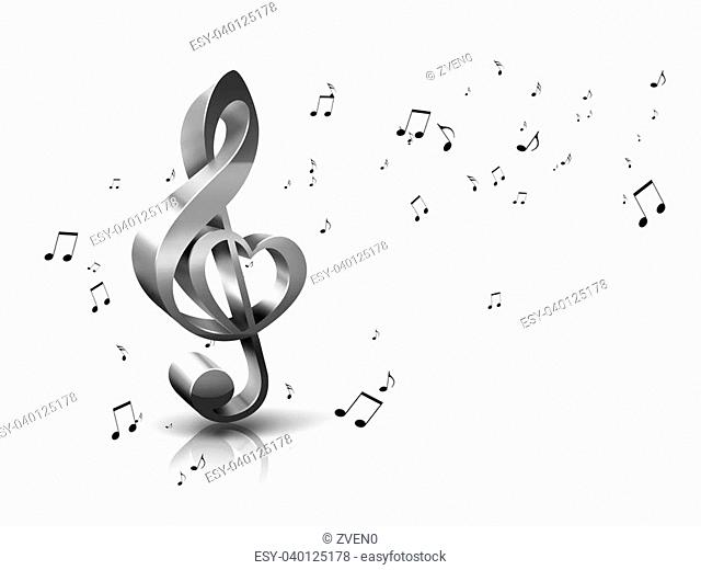 abstract musical background with treble clef and notes