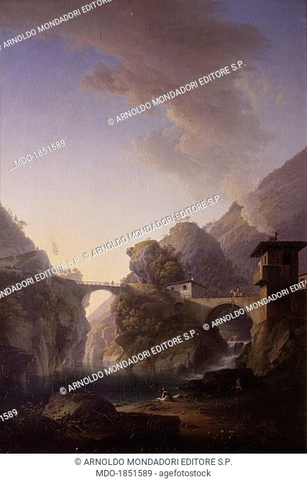 View from Sedrina bridges (Veduta dei ponti di Sedrina), by Marco Gozzi, 1833, 19th Century, oil on canvas. Italy, Lombardy, Milan, Brera Collection