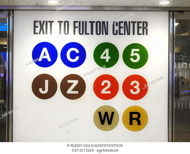 Fulton Street is a New York City Subway station complex in Lower Manhattan. It consists of four linked stations on the IND Eighth Avenue Line