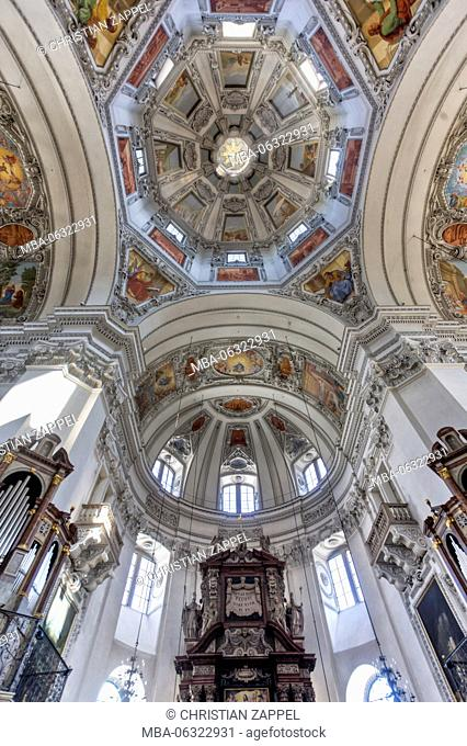 Dome, Salzburg Cathedral St. Rupert and Virgil, old town, Salzburg, Salzburg, Austria, Europe
