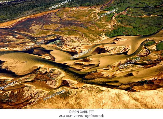 aerial, Archibald River, Athabasca Sand Dunes Prov Park, Lake Athabasca, Saskatchewan
