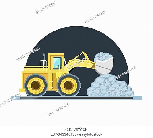 construction bulldozer truck loading stones over white background, colorful design vector illustration