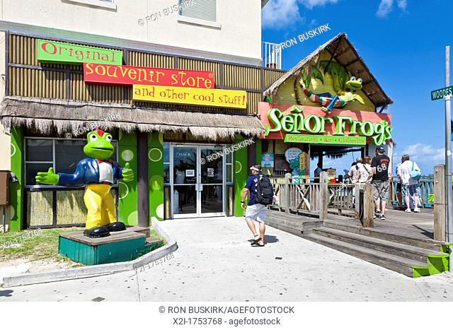 Tourists going to Senor Frog's souvenir shop in Nassau, Bahamas