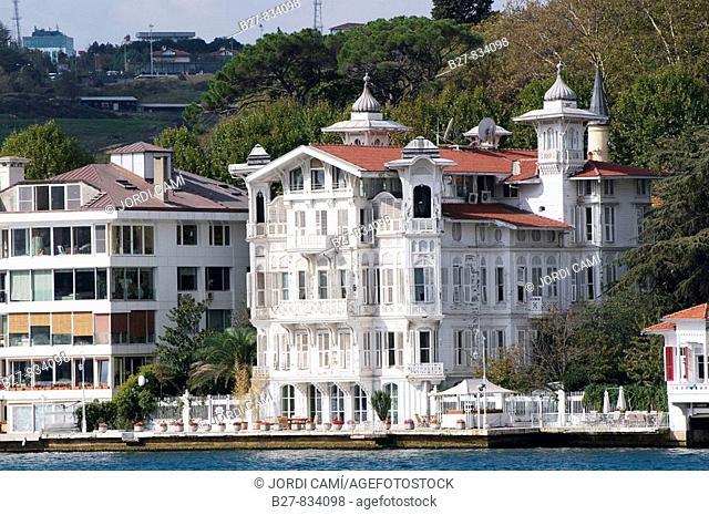Wood house of Yenikoy village, facing the Bosphorus near Istanbul Turkey