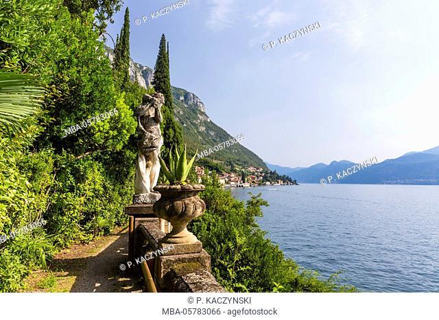 Botanical garden directly at the lake, villa Monastero, Lago di Como, Lake Como, Varenna, Lombardy, Italy
