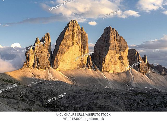 Sesto / Sexten, province of Bolzano, Dolomites, South Tyrol, Italy. Sunset at the Tre Cime di Lavaredo