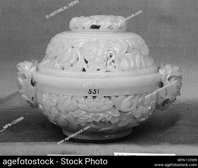 Incense burner with cover. Period: Qing dynasty (1644-1911), Qianlong period (1736-95); Culture: China; Medium: Nephrite
