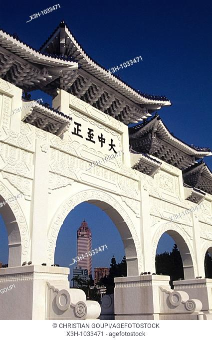 Ceremonial gateway at the entrance to the National Chiang Kai-shek Memorial, Taipei,Taiwan also known as Formosa,Republic of China, East Asia