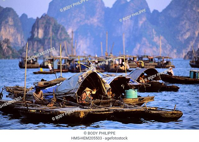 Vietnam, Halong Bay listed World Heritage by UNESCO, fishing boats