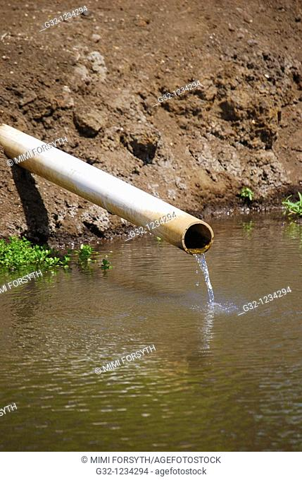 Water running from pipe