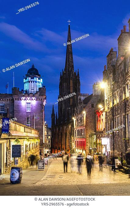 View down The Royal Mile at dusk in Edinburgh, Scotland, United Kingdom