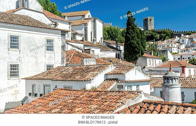 Rooftops in Obidos cityscape, Leiria, Portugal