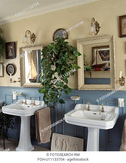 Traditional bathroom with twin sinks
