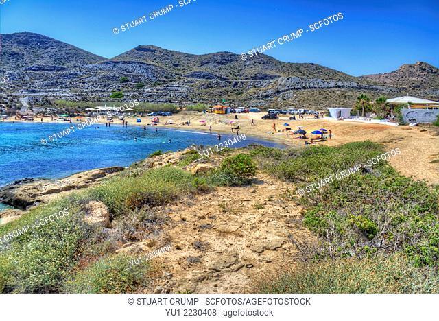 HDR of Cala Reona Beach on the Mediterranean coastline of Costa Calida, East Coast of Spain