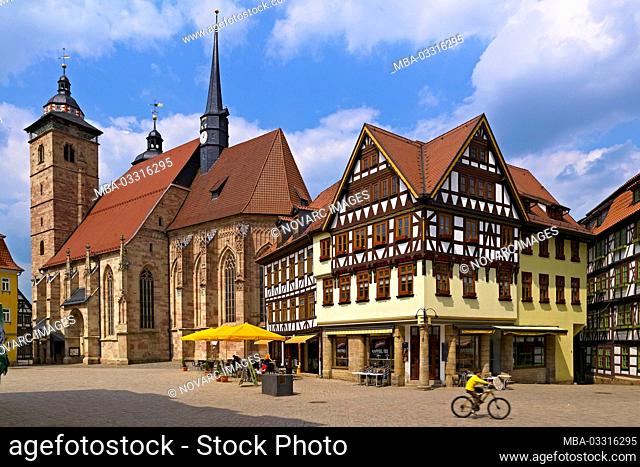 Market corner with Georgskirche, Schmalkalden, Thuringia, Germany