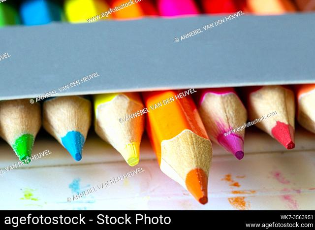 Colored pencils in a carton grey box, rainbow colors, orange pencil sticks out macro, school or office supplies background