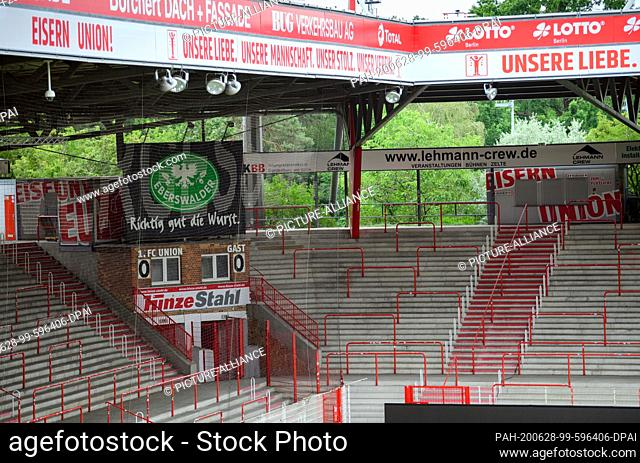 28 June 2020, Berlin: Football: Bundesliga, press conference at the end of the season at 1 FC Union. The home stand in the stadium at the Alte Försterei
