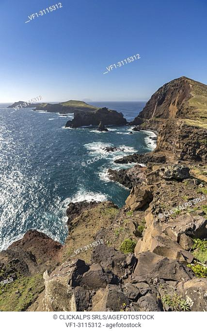 Cevada and Farol islets from Point of St Lawrence. Canical, Machico district, Madeira region, Portugal