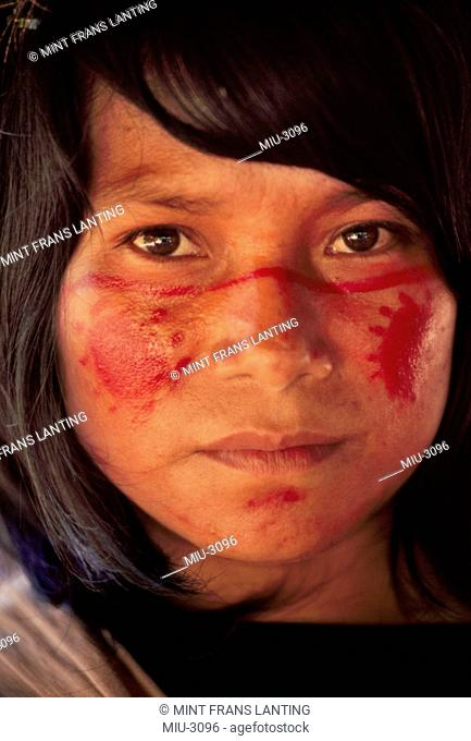 Ashaninka Indian girl with painted face, Vilcabamba, Peru