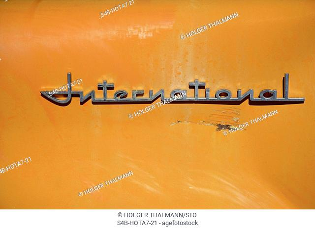 Word international on orange background, California, USA
