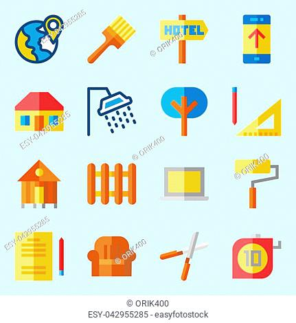 icons set about Real Assets. with tools and utensils, plane, roof, paint roller, hotel and rent