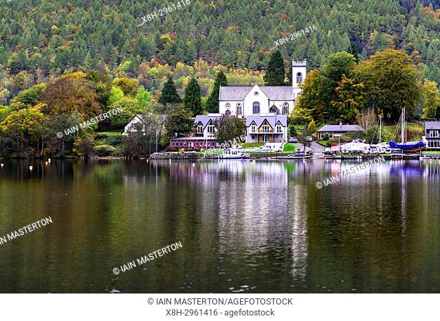 View of village of Kenmore during autumn on Loch Tay in Perthshire , Scotland, United Kingdom